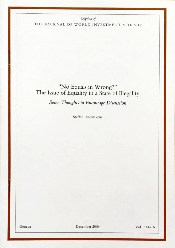 """""""No Equals in Wrong?"""" The Issue of Discrimination in an Environment of Illegality. Some Thoughts to Encourage Discussion,"""