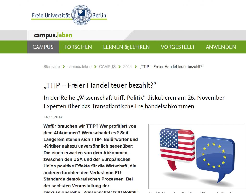 """Podiumsdiskussion des Tagesspiegels """"Wissenschaft trifft Politik"""" zum Thema """"TTIP"""" gemeinsam mit Renate Künast, MdB, Prof. Dr. Tanja Börzel, FU Berlin, und Jürgen Hardt, MdB"""