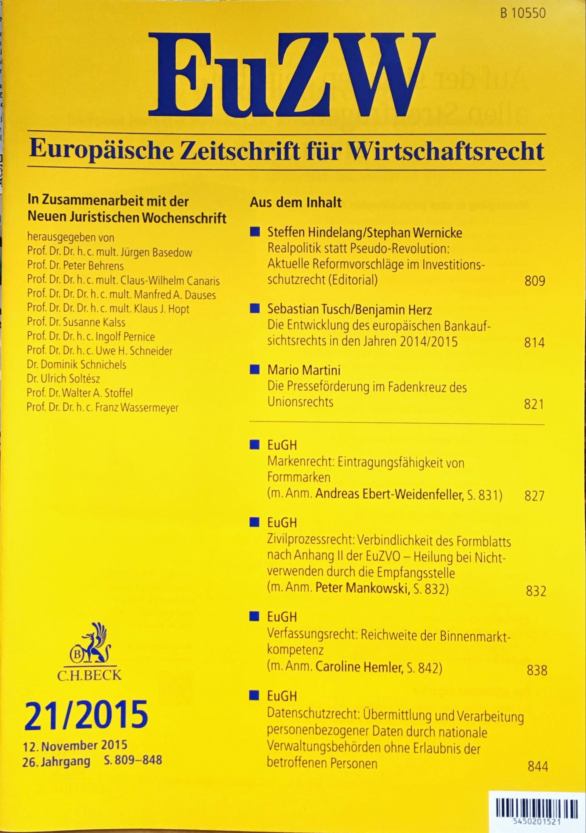 Editorial: Realpolitik statt Pseudo-Revolution: Aktuelle Reformvorschläge im Investitionsschutzrecht