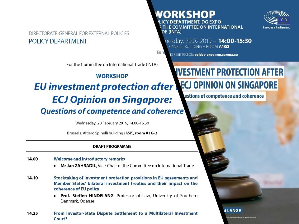 european parliament inta workshop  eu investment protection after the ecj opinion on singapore